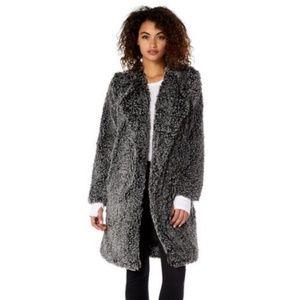 NWT Michael Stars Women's Cozy Fur Long Coat Black